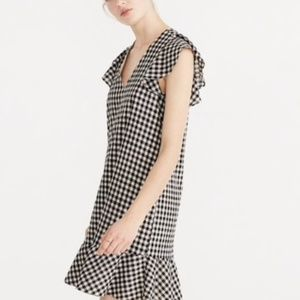 Madewell} ruffle gingham  shift dress